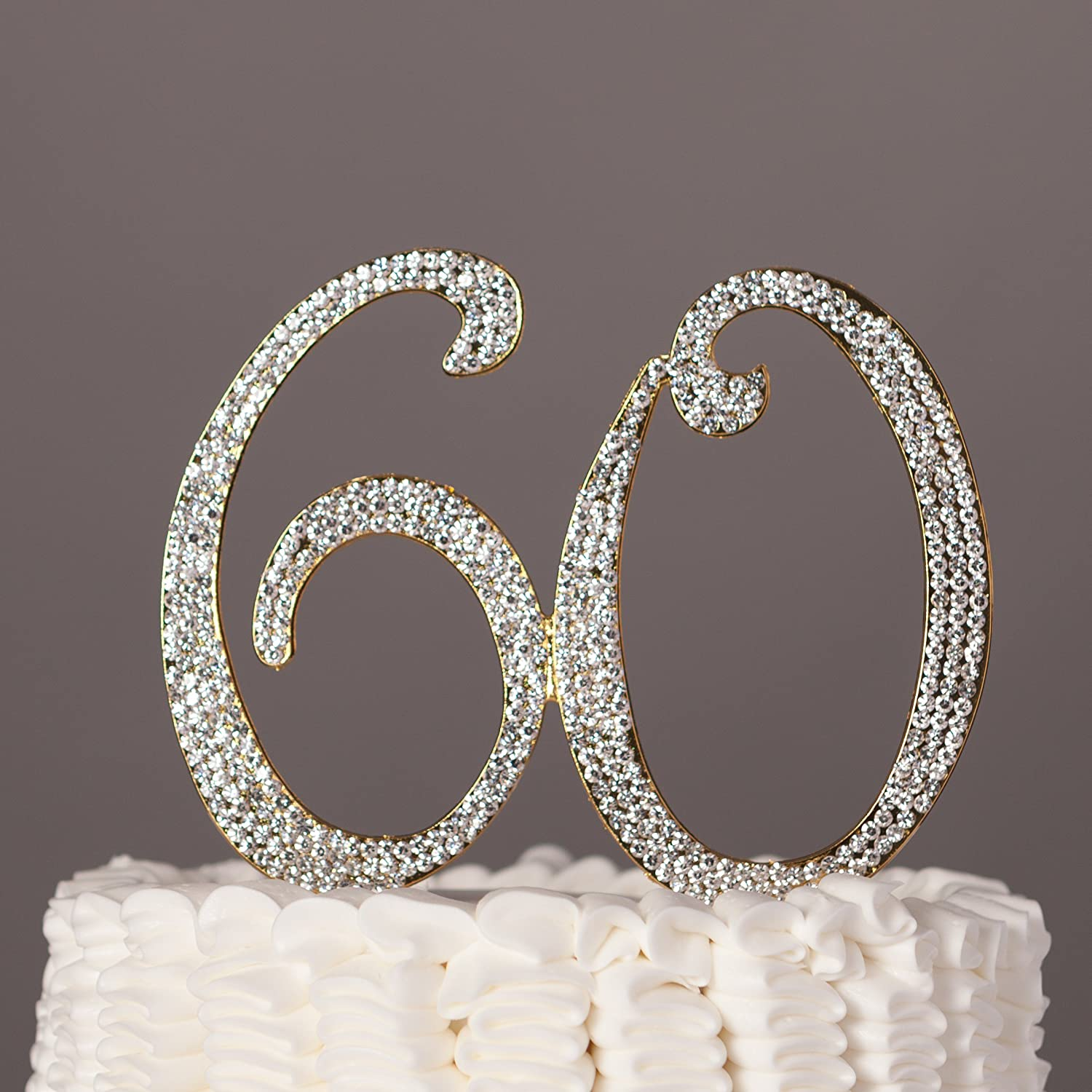Amazon.com: 60 Cake Topper for 60th Birthday or Anniversary Gold ...