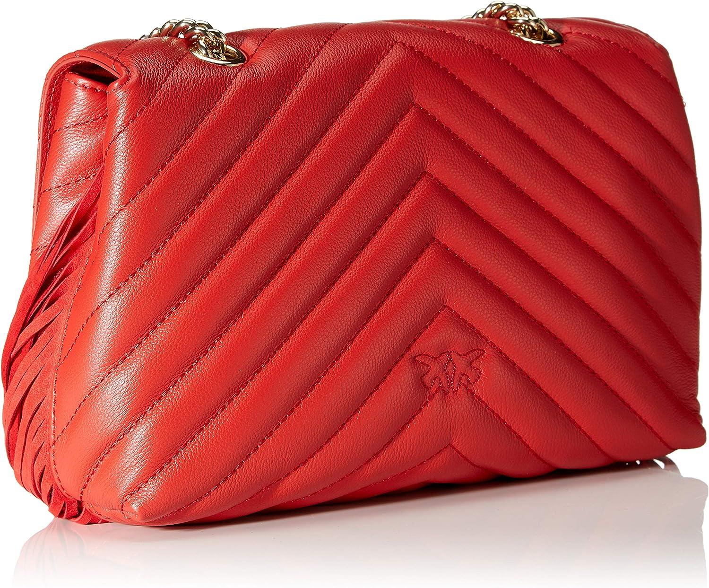 Pinko Love Puff Fringes Cl Nappa+Sca, Borsa a Tracolla Donna, 9x17.4x26 cm (W x H x L) Rosso (Azzurro Cic. India)