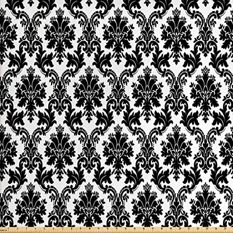 1d9df48b3c Lunarable Damask Fabric by The Yard, Vintage Style Pattern Classical  Victorian Interior Design Elements Floral