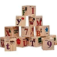 Toyshine Wooden ABC, 123 Educational Blocks, Safe and Durable, Stacking Toy, 12 Pcs