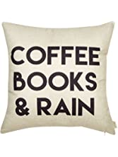 """Fjfz Coffee Books and Rain Motivational Inspirational Quote Cotton Linen Home Decorative Throw Pillow Case Cushion Cover with Words for Book Lover Worm Sofa Couch, 18"""" x 18"""""""
