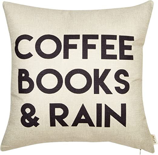 Fjfz Coffee Books And Rain Décor Motivational Inspirational Quote Decoration Cotton Linen Home Decorative Throw Pillow Case Cushion Cover With Words