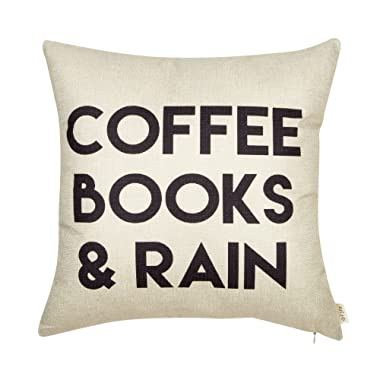 Fjfz Coffee Books and Rain Motivational Inspirational Quote Cotton Linen Home Decorative Throw Pillow Case Cushion Cover with Words for Book Lover Worm Sofa Couch, 18  x 18