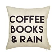 """Fjfz Coffee Books and Rain Décor Motivational Inspirational Quote Decoration Cotton Linen Home Decorative Throw Pillow Case Cushion Cover with Words for Book Lover Worm Sofa Couch, 18"""" x 18"""""""