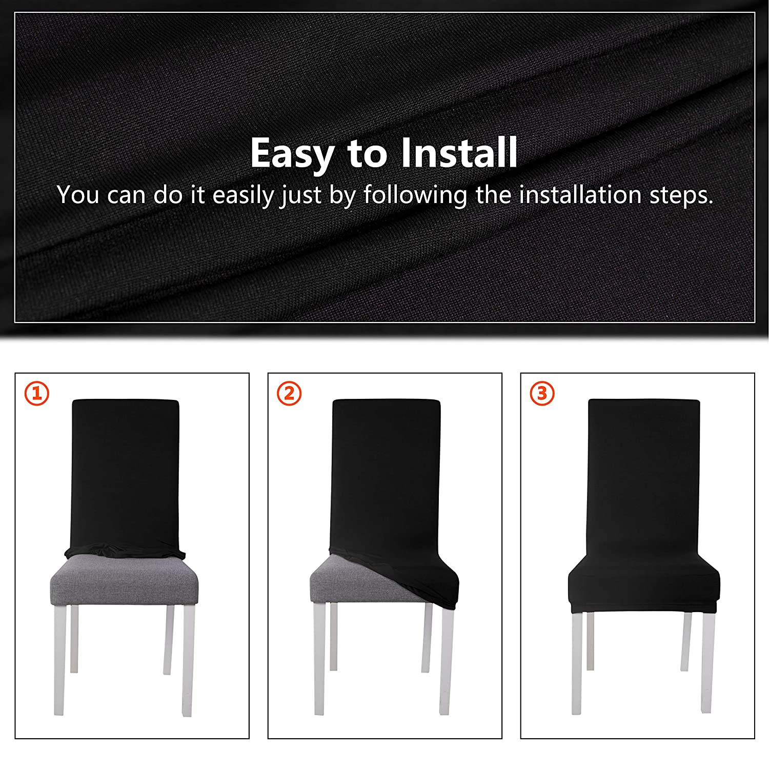 SARAFLORA Chair Covers Stretch Removable Washable Dining Chair Slipcovers Set of 6 Seat Protectors for Wedding Ceremony Party Hotel Living Room Black