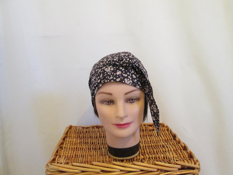 Foulard, turban chimio, bandeau pirate au féminin marron à petites fleurs beiges
