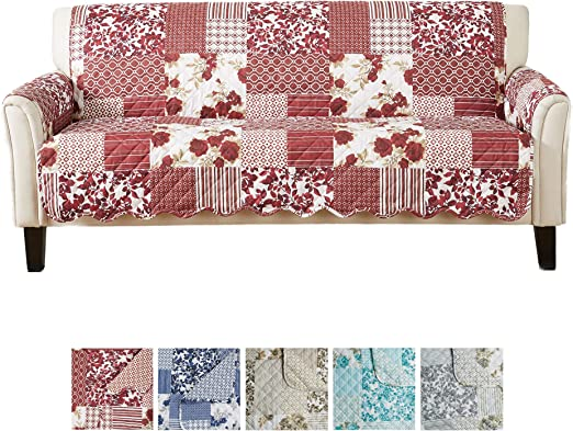 Great Bay Home Patchwork Scalloped Printed Furniture Protector - Best Couch Cover for Water-resistance