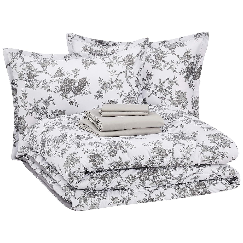 AmazonBasics 8-Piece Comforter Bedding Set, King, Grey Chinoiserie, Microfiber, Ultra-Soft