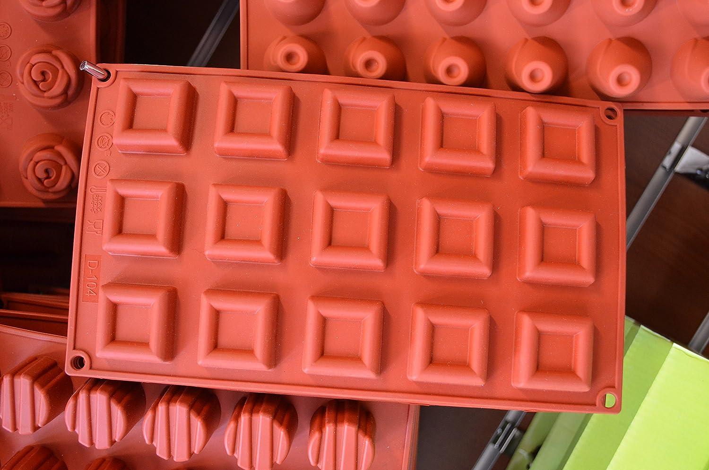 Silicone Mini Square Savarin Non Stick 15 Cavity Baking Mold - by Silicone-Bakeware