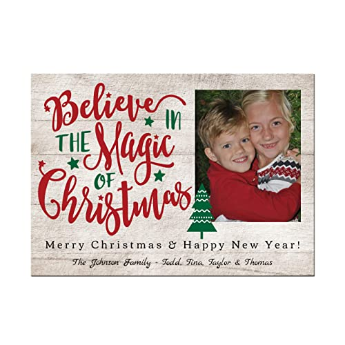 Amazon Com Rustic Wood Photo Christmas Cards Believe In The Magic