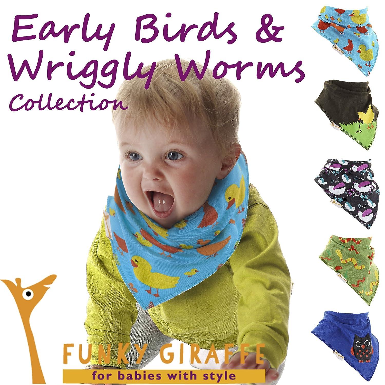 Early Birds /& Wriggly Worms Set of Funky Giraffe Bandana Bibs Set of 5