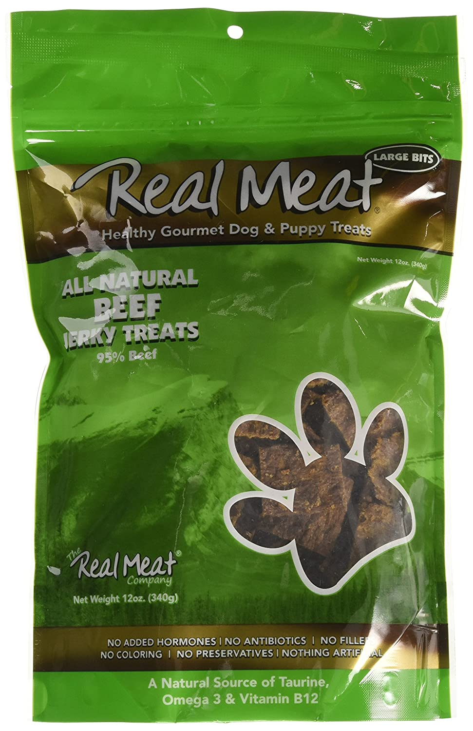 12-oz pouch Real Meat Large Bits Beef Jerky Dog Treats 12 Oz