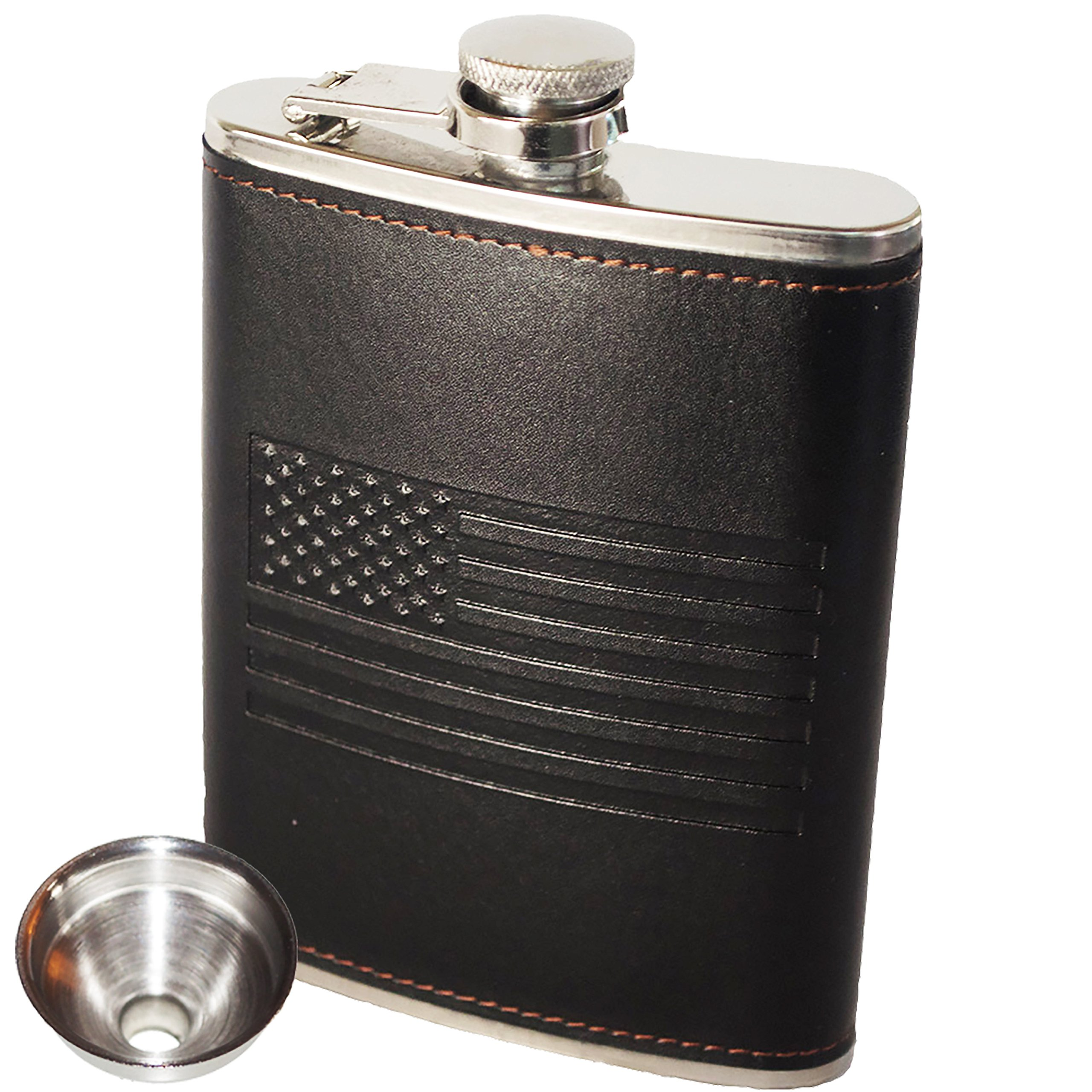 American Flag Flask - Soft Touch Cover and Durable Construction | 18/8 304 Food Grade Stainless Steel | Leak Proof Slim Profile Classic American Flag Design | Funnel Included | Black