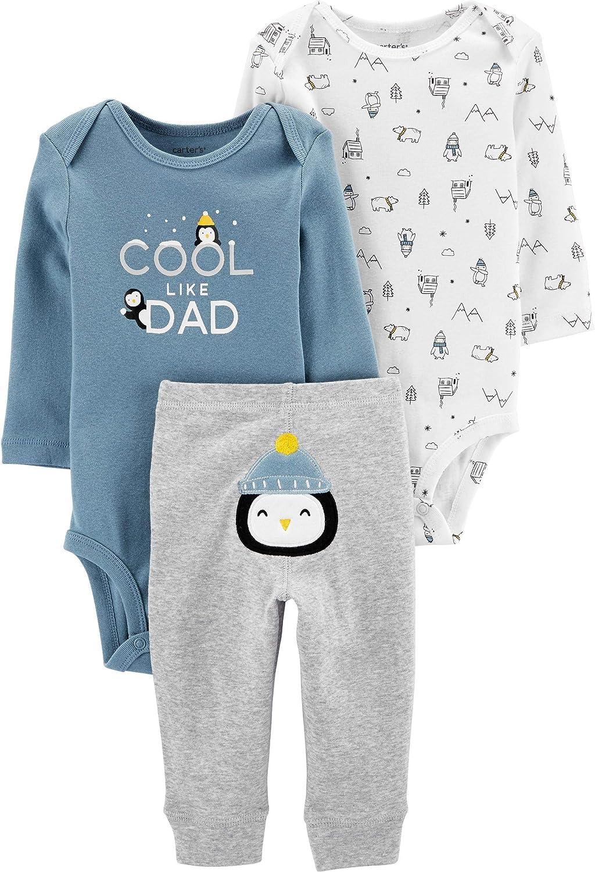 Carter/'s Baby Boys 3 Piece Set 2 Bodysuits Pants Size 3 Months Layette Penguin