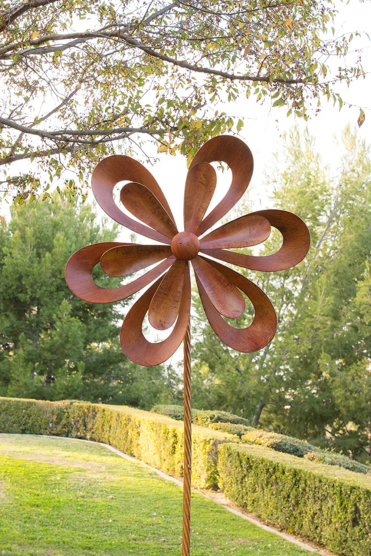 Alpine NCY352 Rustic Metal Garden Stake Windmill Spinner, 96 Inch Tall Rusty