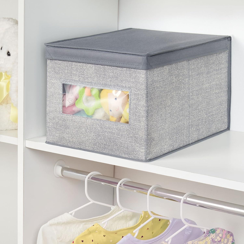 mDesign Caja organizadora de tela grande - Caja de tela con tapa para el armario del cuarto del bebé - Organizador de accesorios de bebé, ropa, sábanas, ...