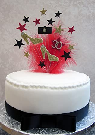 Karen S Cake Topper Glitzernde Schuhe Handtasche 30 Geburtstag