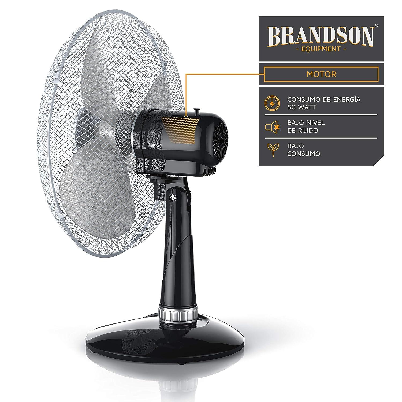3 Niveles de Potencia Oscilaci/ón Aprox 85/° Ventilador de Escritorio Flujo de Aire Elevado Ventilador de Mesa 35 cm Grado de inclinaci/ón Aprox 40 W Brandson Negro//Plata 30/°