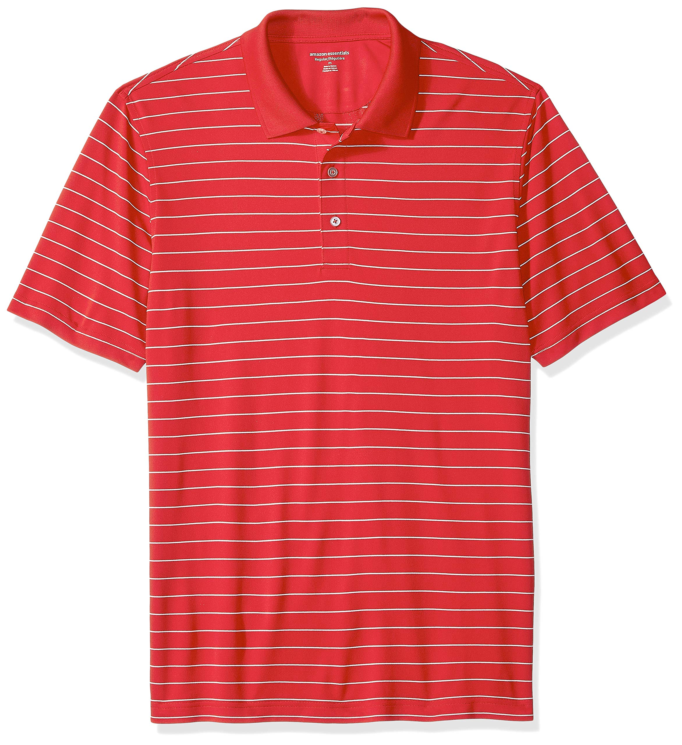 Amazon Essentials Men's Regular-Fit Quick-Dry Golf Polo Shirt, Red Stripe, Small by Amazon Essentials