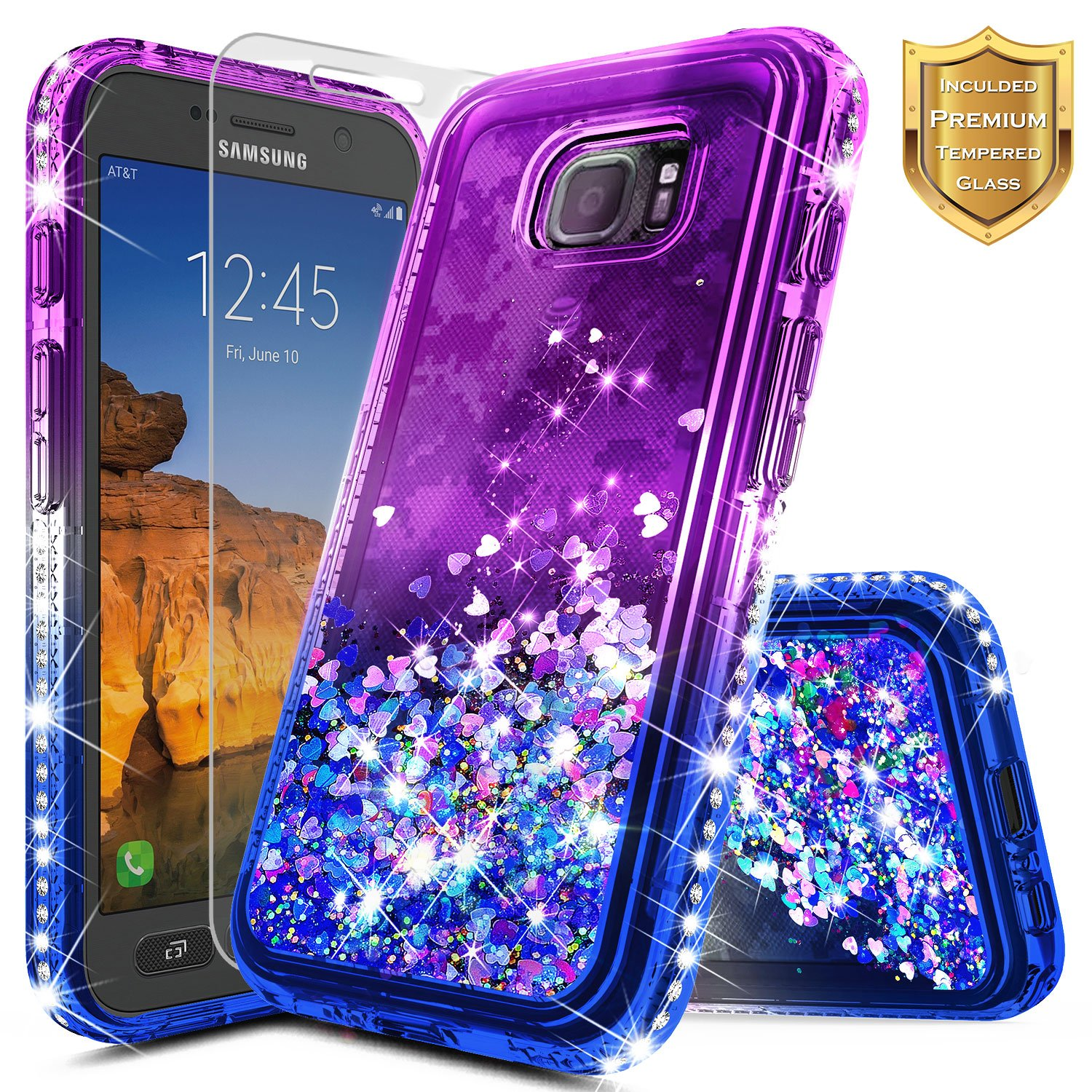 Galaxy S7 Active Case with [Tempered Glass Screen Protector], NageBee Glitter Liquid Quicksand Flowing Sparkle Shiny Bling Diamond Clear Cute Case For Samsung Galaxy S7 Active [SM-G891A] -Purple/Blue