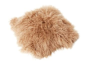 Marron clair 40 x 40 cm Genuine Mongol Peau De Mouton Lamb Fourrure coussin plume de canard