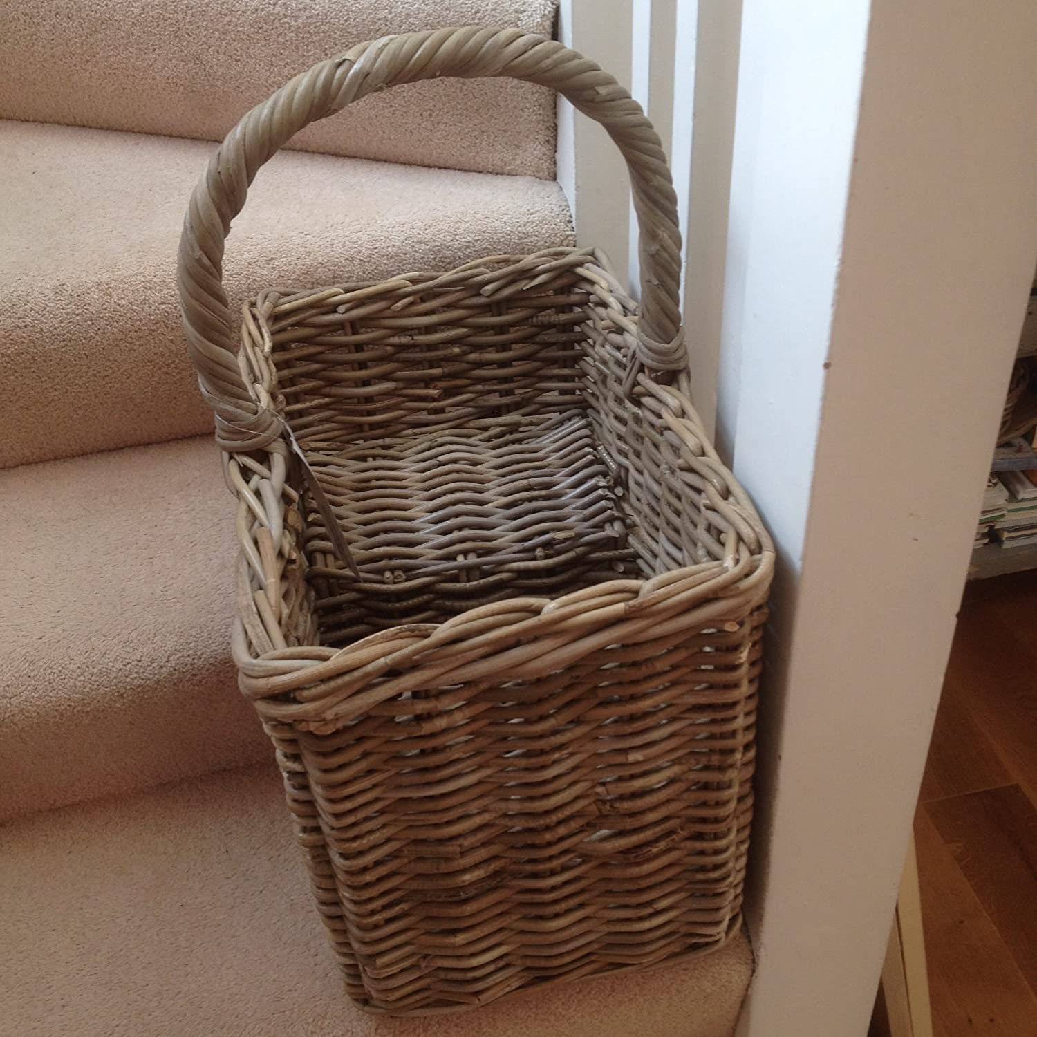 Rattan Basket   Grey Rattan Stair Basket   D42cm X 28cm X H35.:  Amazon.co.uk: Kitchen U0026 Home