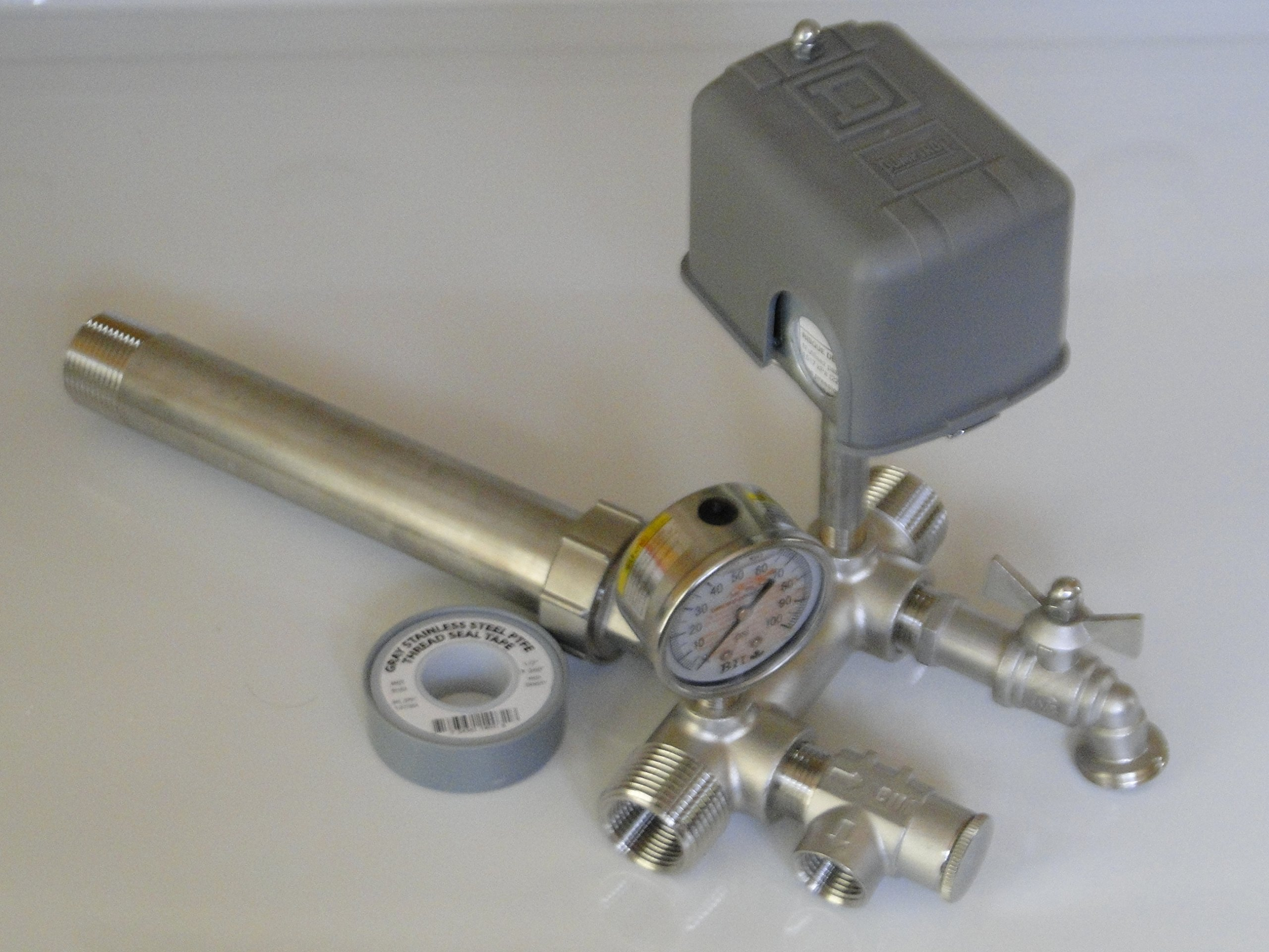 STAINLESS STEEL 1 x 11 Tank Tee Kit + UNION Installation Water Well Pressure Tank with SQUARE D 30/50 FSG2 pressure switch