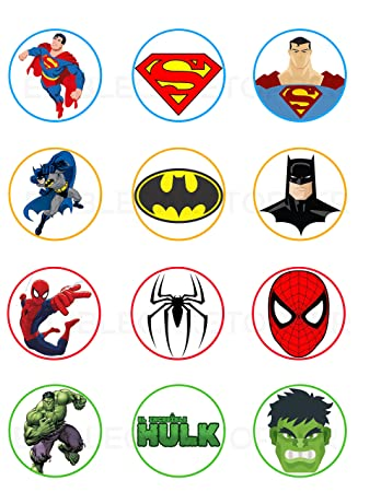 graphic relating to Free Printable Cupcake Wrappers and Toppers With Spiderman known as Superman, Batman, Spiderman, Hulk Edible Cupcake Toppers (12