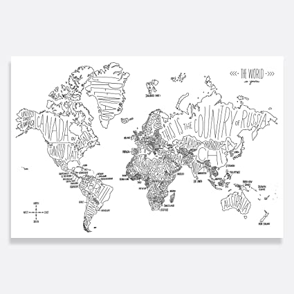 picture about World Map Printable Black and White referred to as Straightforward Tiger High quality Artwork Print, Black and White Hand Lettered Worldwide Map (36x24)