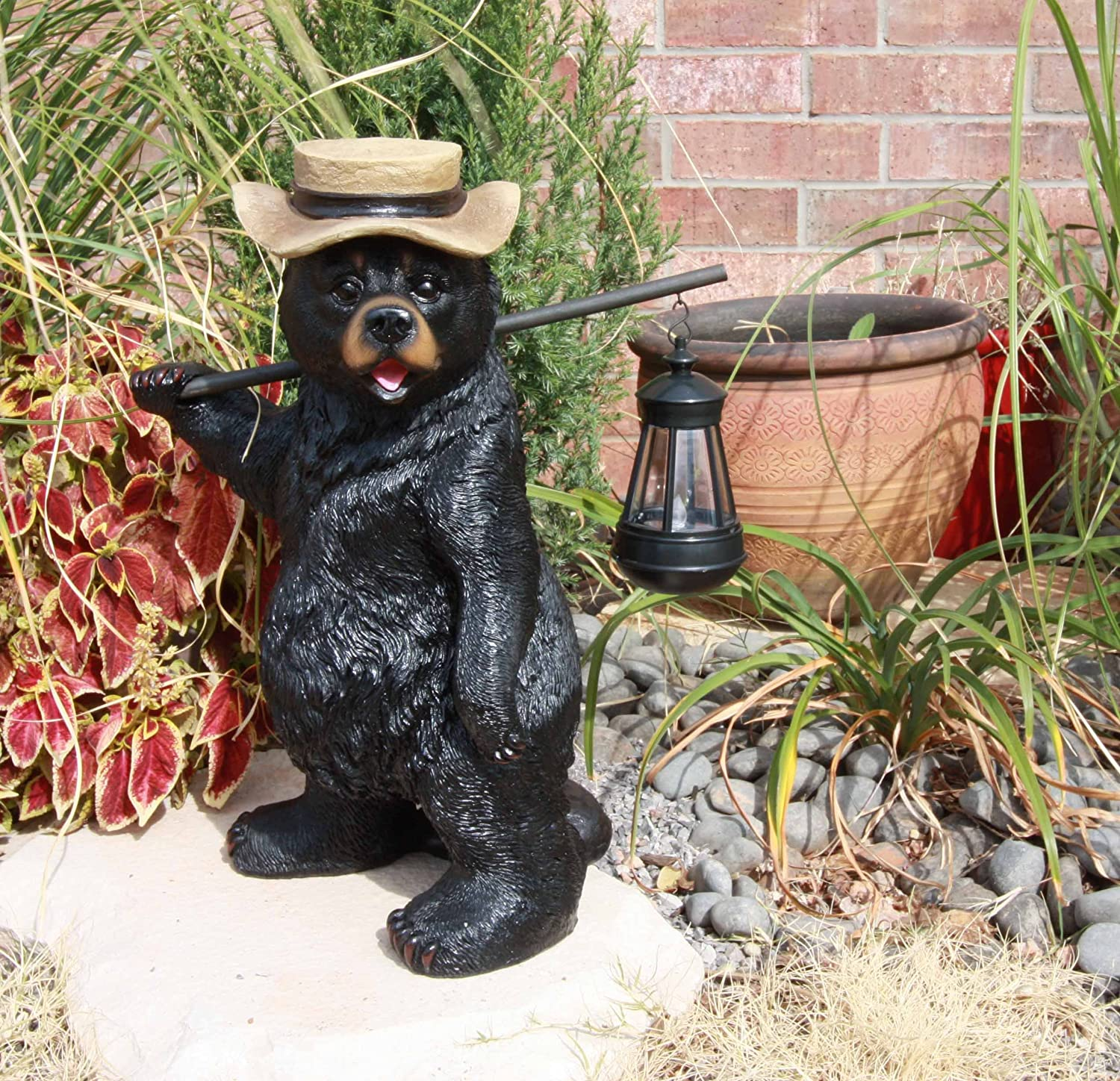 Ebros Whimsical Rustic Forest Outdoor Hiking Black Bear Statue With Solar LED Light Lantern Lamp Guest Greeter Home Decor Collectible Sculpture For Cabin Lodge Nature Lovers Camping Bears Statue