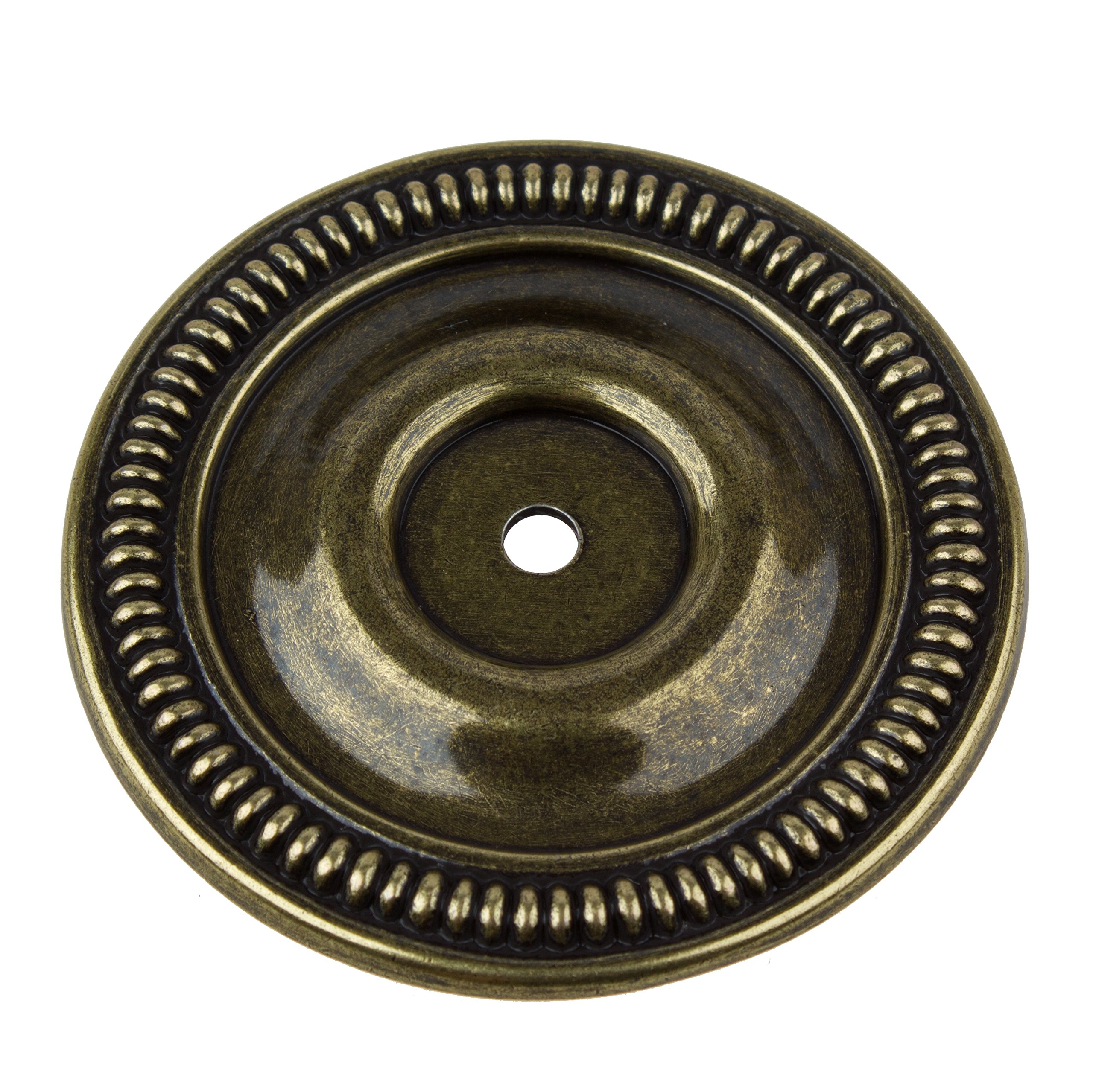 GlideRite Hardware 2-1/2-inch Diameter Antique Brass Round Back Plates (Pack of 10)