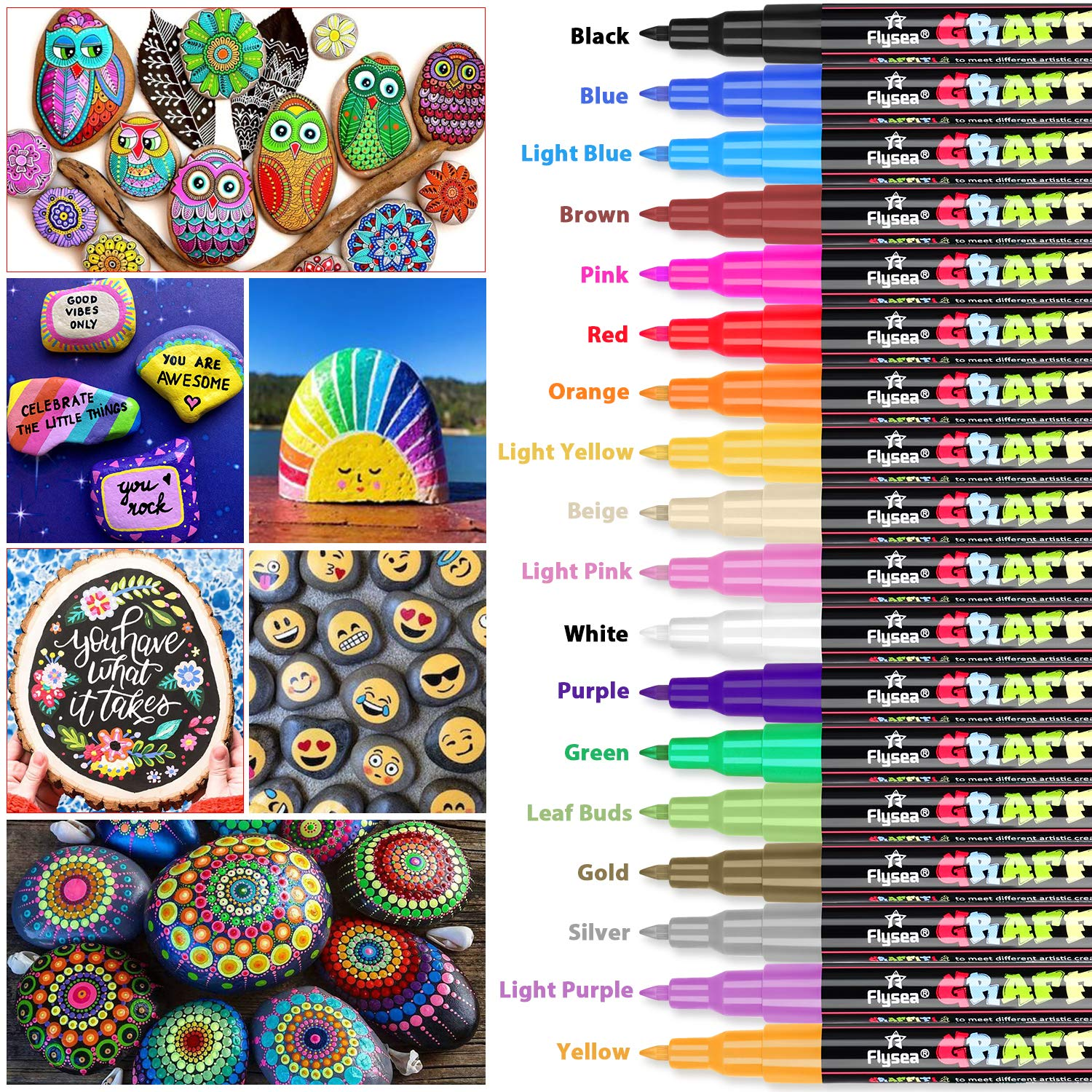 Ceramic Art Acrylic Paint Pens YITHINC Set of 18 Marker Pens for Rock Painting
