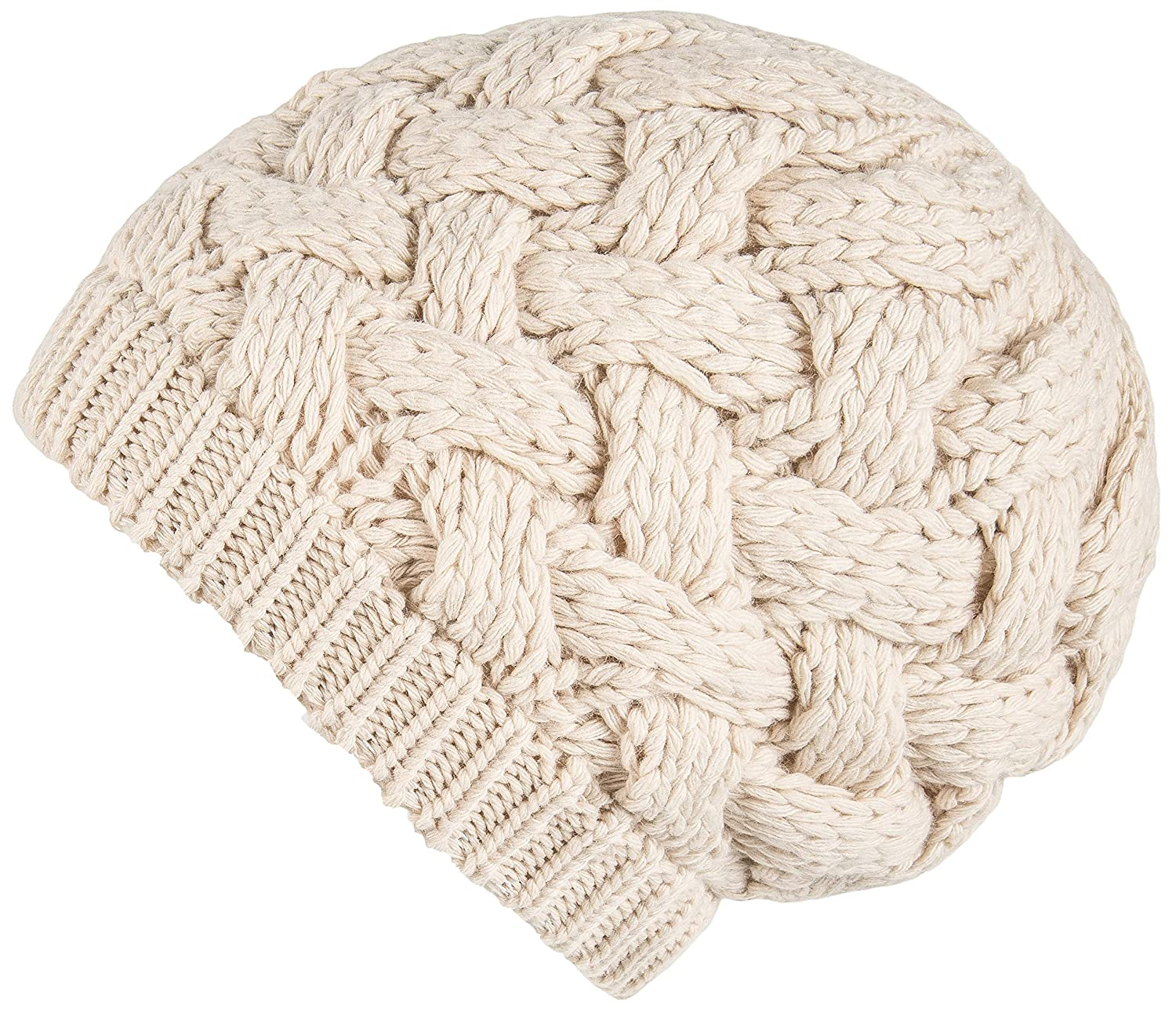 Lilax Cable Knit Slouchy Chunky Oversized Soft Warm Winter Beanie Hat Beige  at Amazon Women s Clothing store  558acc5b7773