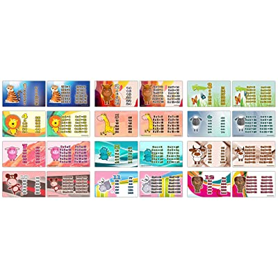 Cute Animals Multiplication Tables Flash Cards (24-Pack - 12 Cards Front & Back Designs x 2 Sets): Office Products