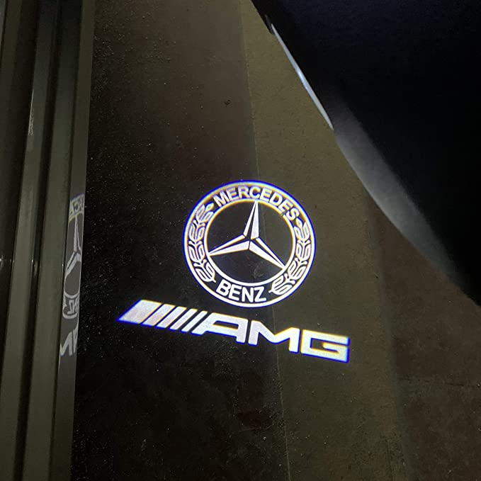 LONGSNOL 4 Pack Door/Light Logo Projector for Mercedes Benz LED Car/Courtesy Welcome Light Projector Fit W176//W246//W205//W212//W213//W166//4MATIC Emblems Logo Laser Projector Ghost Shadow Light Lamp