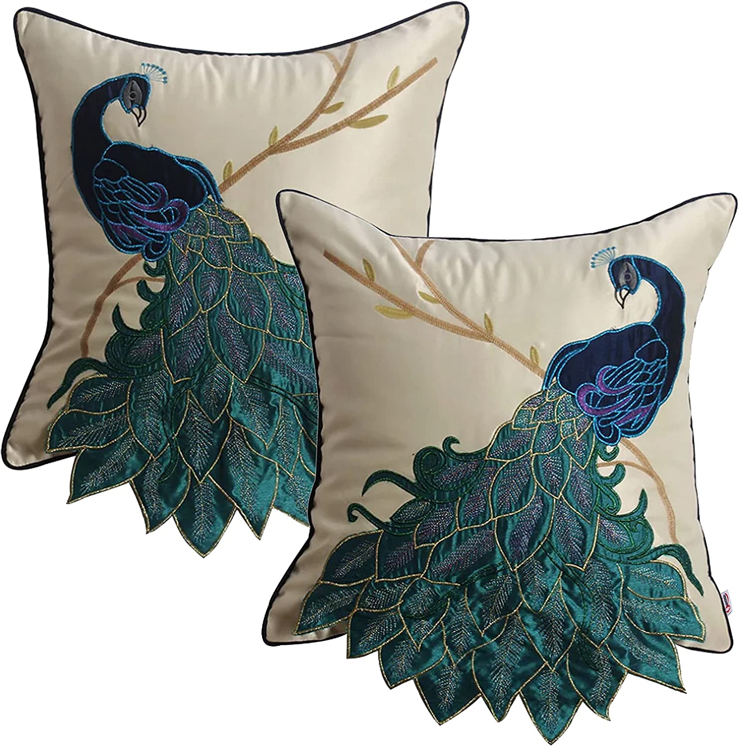 Queenie - 2 Pc Peacock/parrot Decorative Pillowcase Cushion Cover Throw Pillow Case 16 X 16 Inch 40 X 40 Cm (A Pair Of Peacock With Embroidery - Square)