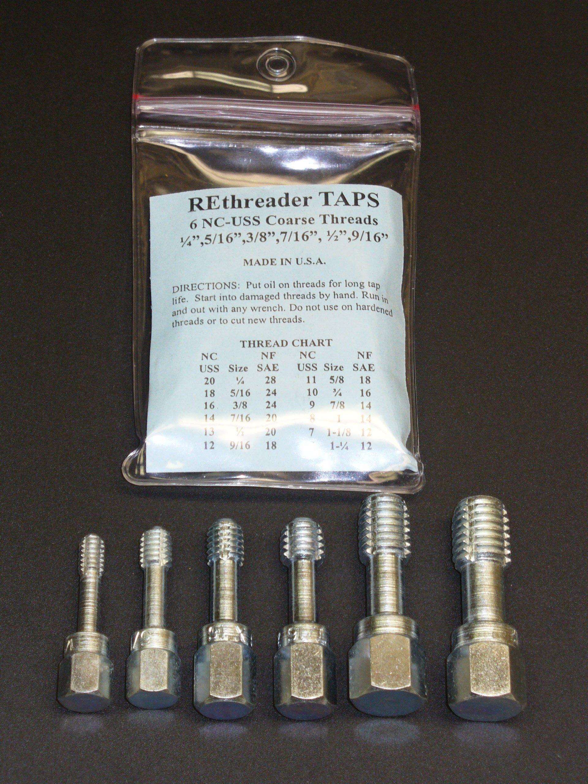 "UNC Thread Chaser Rethreading Tap Set 1/4"" 5/16"" 3/8"" 7/16"" 1/2"" 9/16"" USA"