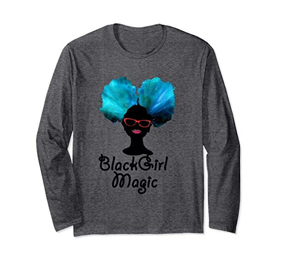 b8293e10 Unisex Black Girl Magic Afro Puff Long Sleeve T-Shirt Small Dark Heather