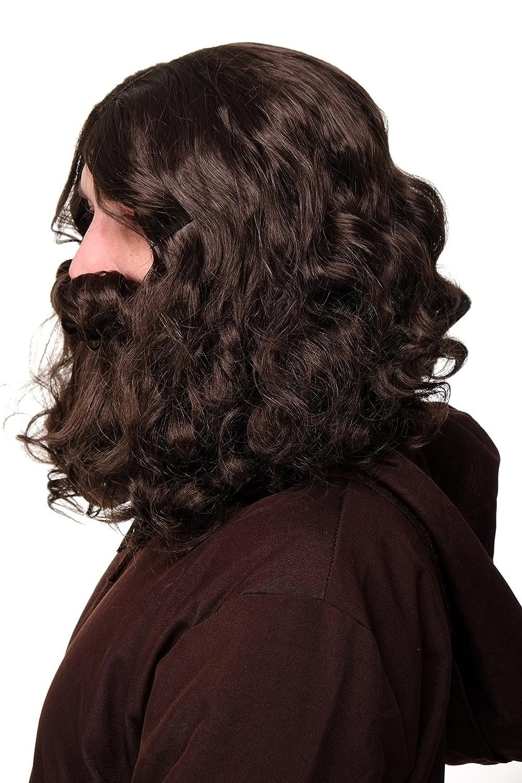 WIG ME UP ® - 6098A+B-P6 Peluca y Barba Halloween Carnaval Profeta Gurú Jesús Hipster ermitaño castaño marrón Oscuro