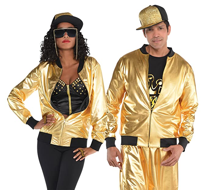 90er Jahre Hip Hop Goldene Jacke 40 42 Amazon De Bekleidung