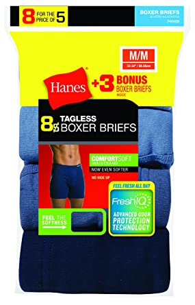 5553294cd7f1 Hanes Men's 8-Pack Tagless Comfortsoft Waistband Boxer Briefs (5-Pack + 3  Free) at Amazon Men's Clothing store: