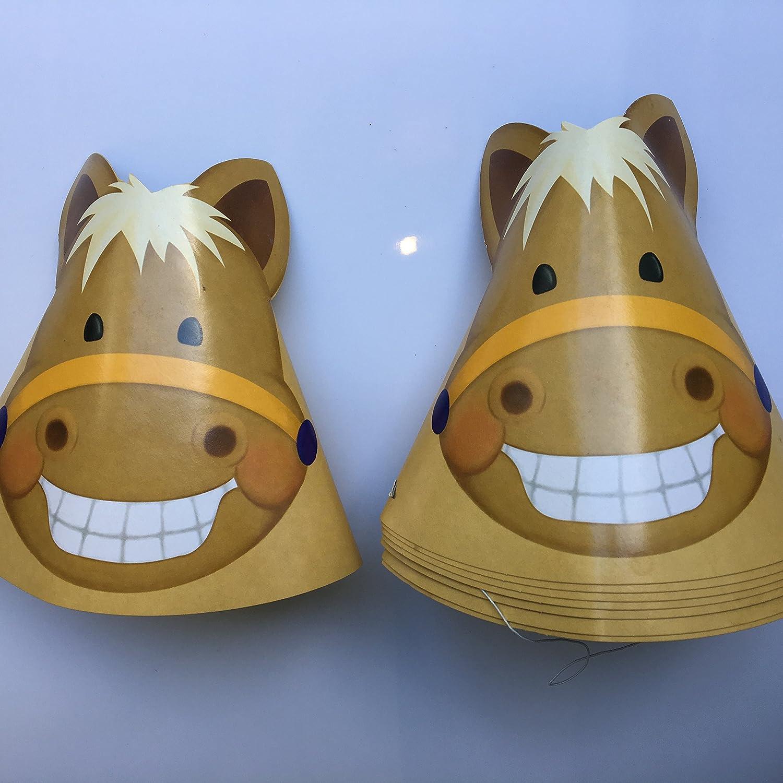 8 gorros de fiesta de pony, para cumpleaños, para niños o para fiestas temáticas y disfraces: Amazon.es: Juguetes y juegos