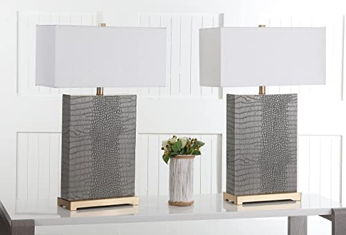 Safavieh Lighting Collection Joyce Grey and Gold Faux Alligator 27.75-inch Table Lamp Set of 2