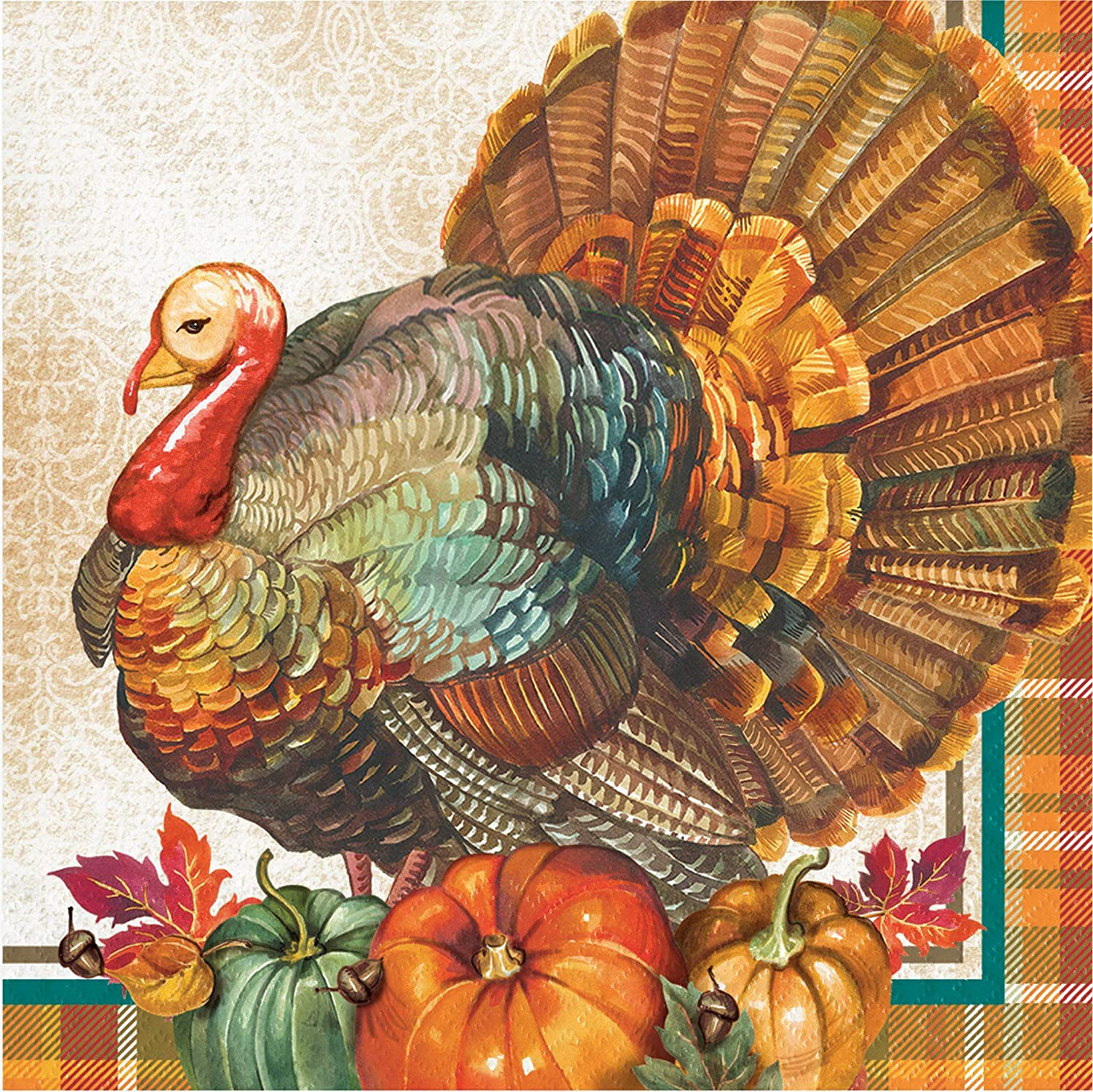 Dessert Plates and Buffet Guest Hand Towel Napkins in a Traditional Design for 8 Guests Thanksgiving Turkey Party Tableware Supply Pack: Bundle Includes Dinner Plates Luncheon Napkins