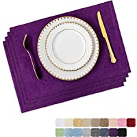 Home Brilliant Placemats Set of 4 Heat Resistant Dining Table Place Mats for Kitchen Table, 13 x 19 inches, Purple