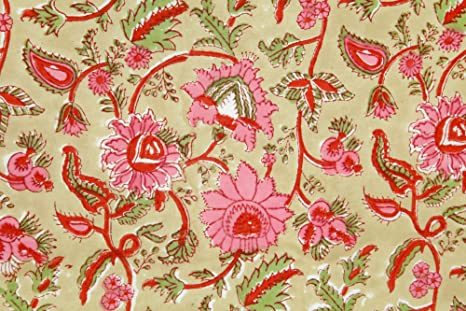 Indian Natural Sanganeri Hand Block Floral Print Fabric Women Dress Making