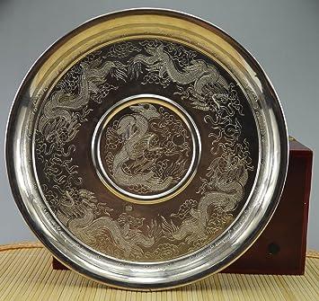 207 G pendientes de pureza 999 de plata maciza hecho a mano dragón grande placa bandeja: Amazon.es: Hogar