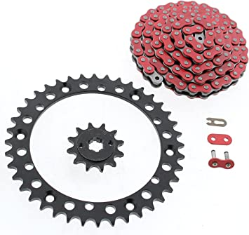 88-06 Yamaha YFS200 Blaster 520-92 Red Non-O Ring Chain /& Sprocket Silver 13//40