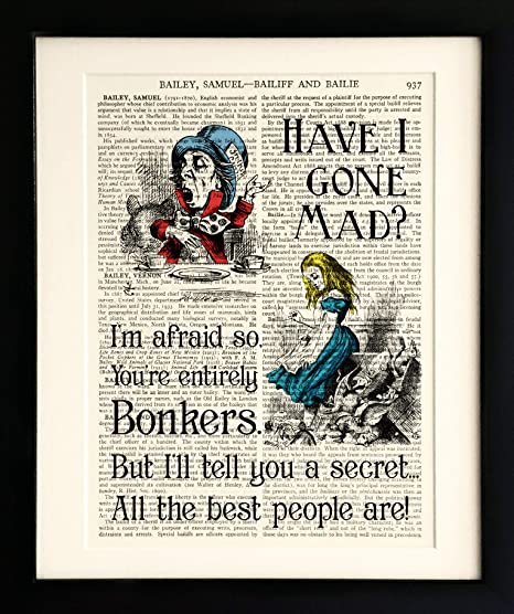 VINTAGE ANTIQUE MUSIC BOOK PAGE ART PRINT PICTURE ALICE IN WONDERLAND QUOTE