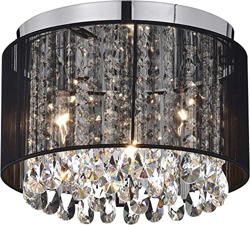 Chandeliers Black Chandelier Flush Mount Light Fixture Crystal Chandelier Lighting Drum Ceiling Chandelier 3 Light Flush Mount Ceiling Light
